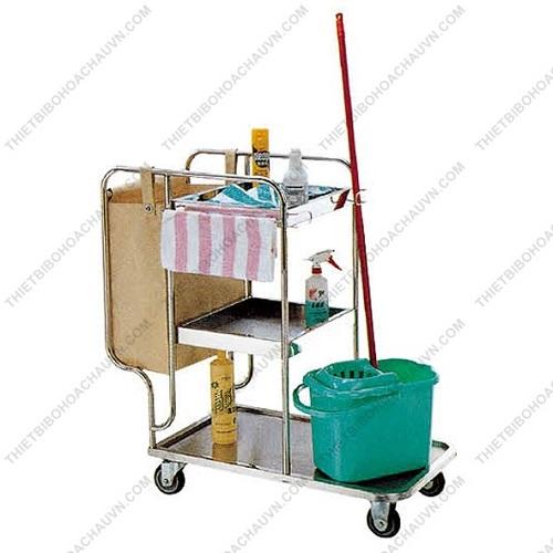 Xe đẩy dọn vệ sinh đa năng inox ba tầng