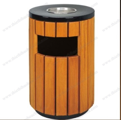 Thùng rác ngoài trời bọc gỗ kiểu tròn cho khuôn viên