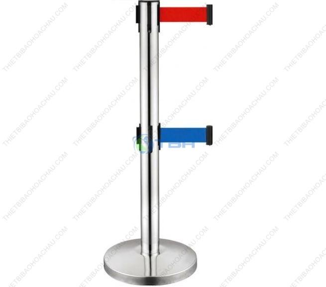 Trụ chắn inox 2 dây phân làn đế chóp cao cấp