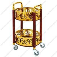 Xe đẩy phục vụ rượu trà cao cấp xi mạ vàng