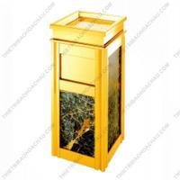 Thùng rác cao cấp inox mạ vàng đá hoa cương