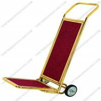 Xe đẩy hành lý đơn inox mạ vàng 02 bánh xe