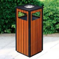 Thùng rác vuông ngoài trời bọc gỗ giá rẻ