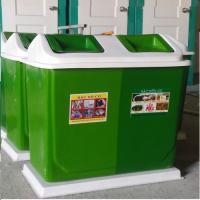 Thùng rác phân loại 2 ngăn màu xanh cho khuôn viên- công cộng