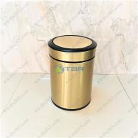 Thùng rác 6L mạ vàng nắp bập bênh cho nhà hàng