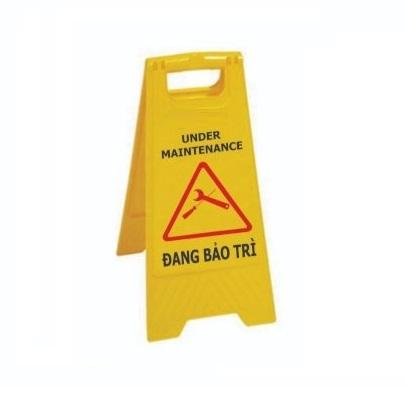Bảng nhựa chữ A cảnh báo KHU VỰC BẢO TRÌ