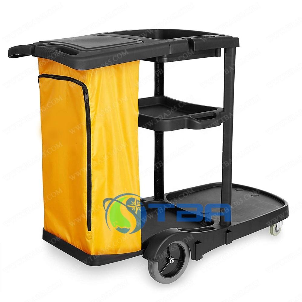 Xe đẩy vệ sinh đa năng chữ L 3 tầng màu đen
