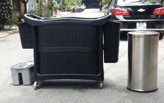 Xe đẩy dọn vệ sinh đa năng ba tầng bằng nhựa