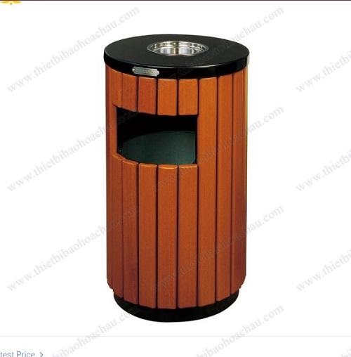 Thùng rác tròn bọc gỗ cao cấp